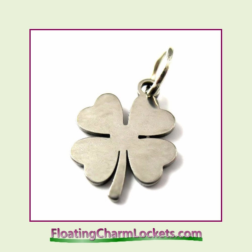Mini O-Ring Charm:  4 Leaf Clover 11.5mm Silver Stainless Steel