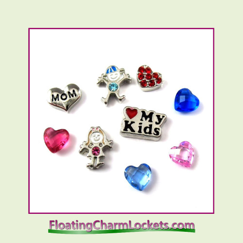 FCL Designs® Love My Kids  Floating Charm Combination for Lockets
