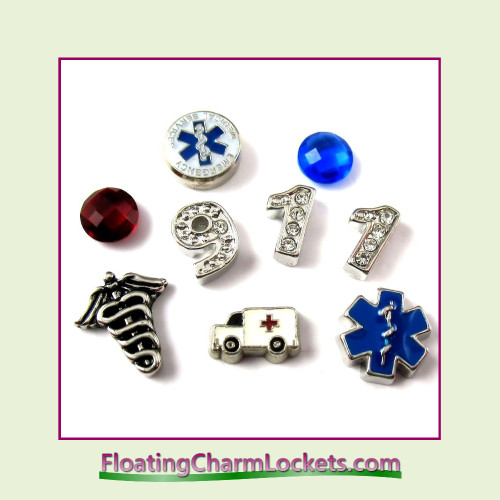 FCL Designs® Emergency Medical Services  Floating Charm Combination for Lockets