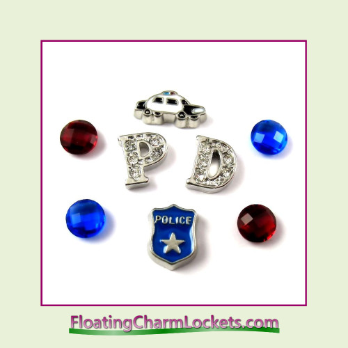 FCL Designs® Police  Floating Charm Combination for Lockets