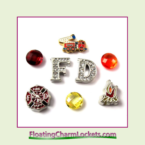 FCL Designs® Fire Department  Floating Charm Combination for Lockets