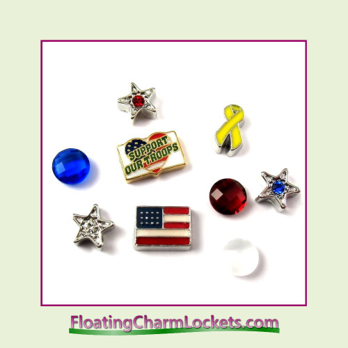 FCL Designs® Support Our Troops  Floating Charm Combination for Lockets