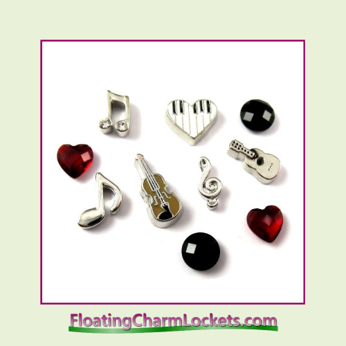 FCL Designs® Music Lover  Floating Charm Combination for Lockets