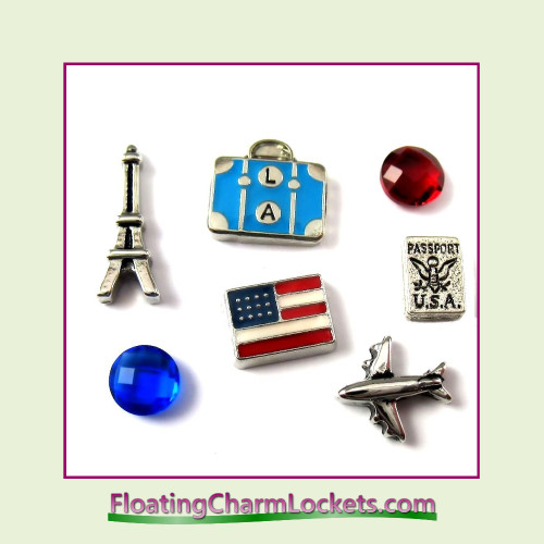 FCL Designs® Travel  Floating Charm Combination for Lockets