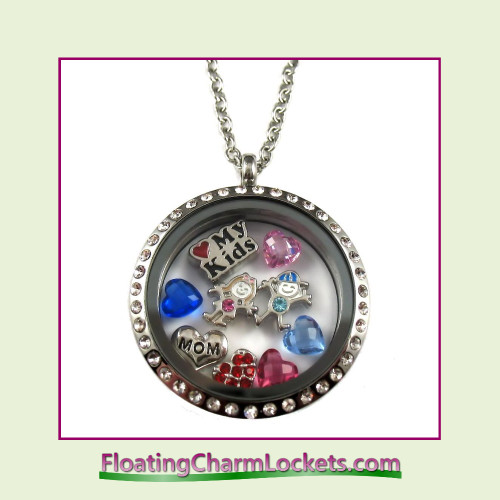 FCL Designs® Love My Kids Theme Floating Charm Locket