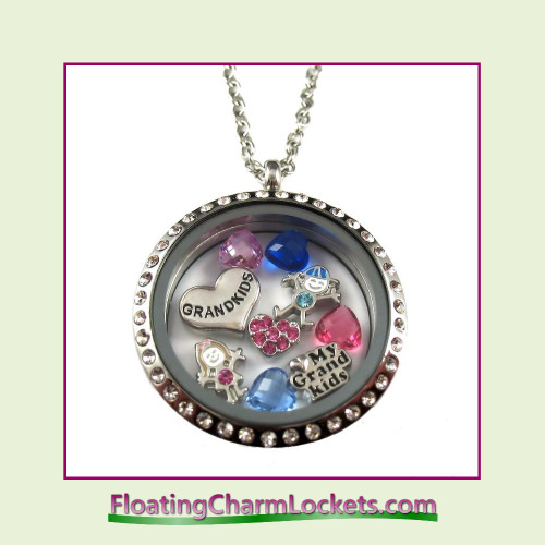 FCL Designs® Love My Grandkids Theme Floating Charm Locket