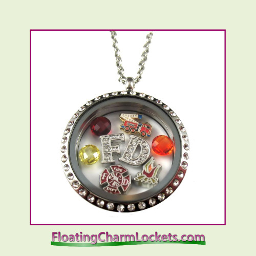 FCL Designs® Fire Department Theme Floating Charm Locket