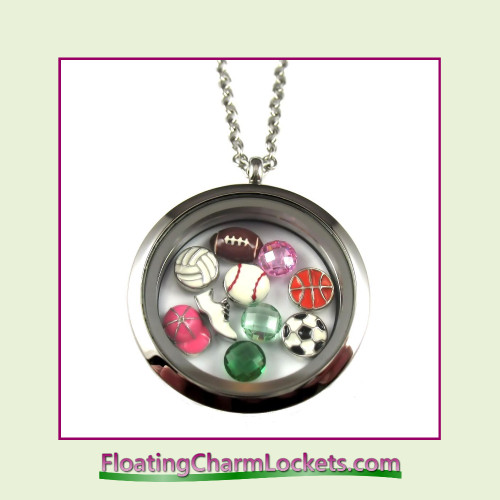 FCL Designs® Sports Theme Floating Charm Locket