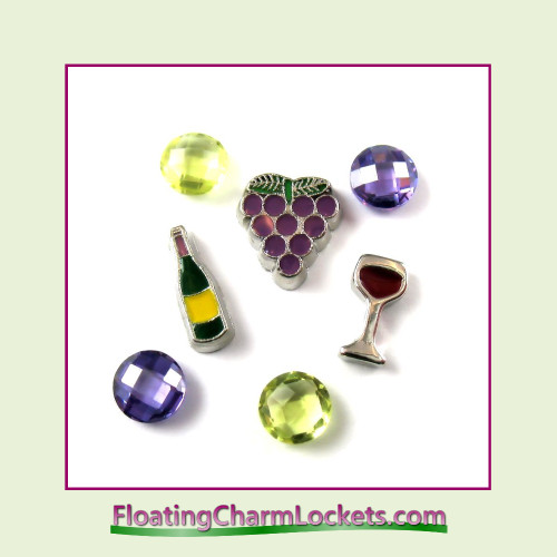 FCL Designs® Wine Floating Charm Combo for Lockets