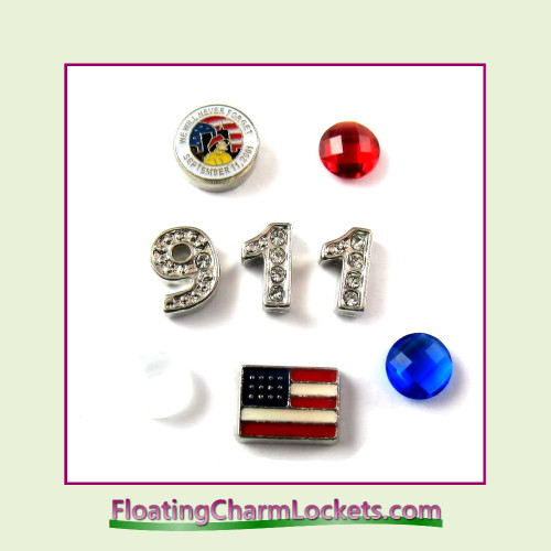 FCL Designs® 911 Memorial Floating Charm Combo for Lockets