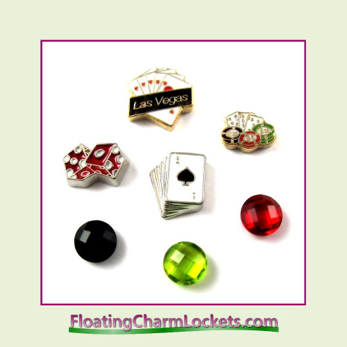 FCL Designs® Las Vegas / Gambling Floating Charm Combo for Lockets
