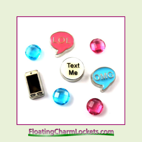 FCL Designs® Texting Floating Charm Combo for Lockets