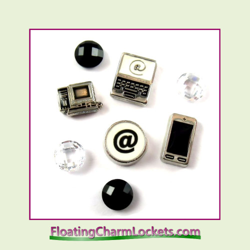 FCL Designs® Computer Techie Floating Charm Combo for Lockets