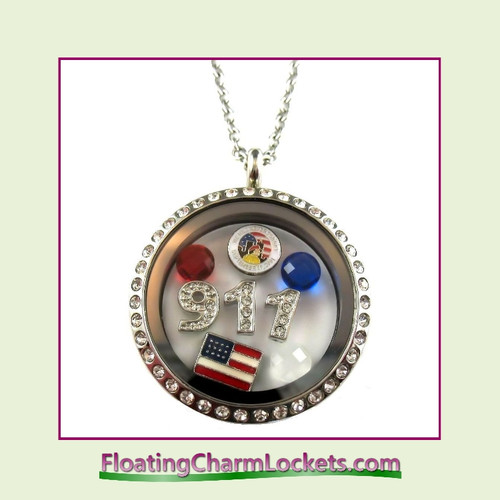 FCL Designs® 911 Memorial Theme Floating Charm Locket