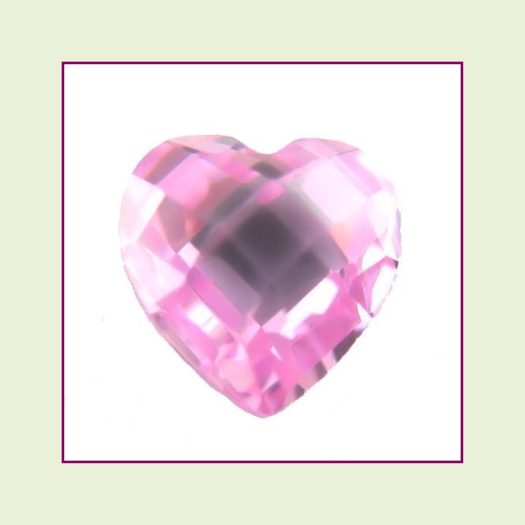 CZH10 - October Pink Tourmaline Heart Crystal Birthstone – 5mm – For Floating Lockets
