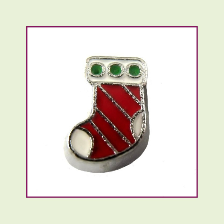 Christmas Stocking Red (Silver Base) Floating Charm