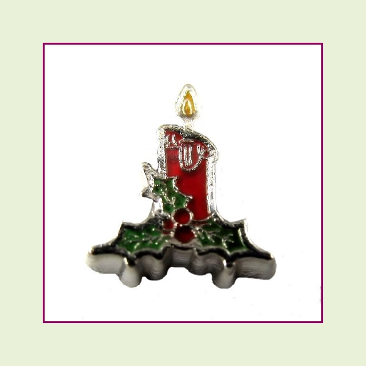 Christmas Candle (Silver Base) Floating Charm