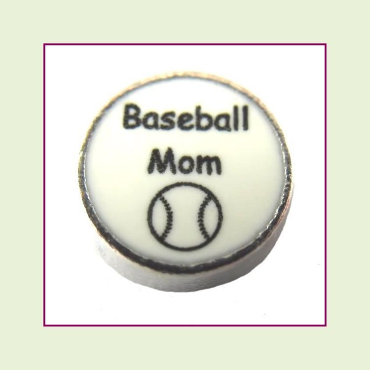 Baseball Mom on White Round (Silver Base) Floating Charm