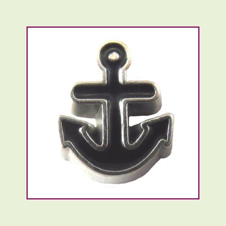 Anchor Black (Silver Base) Floating Charm