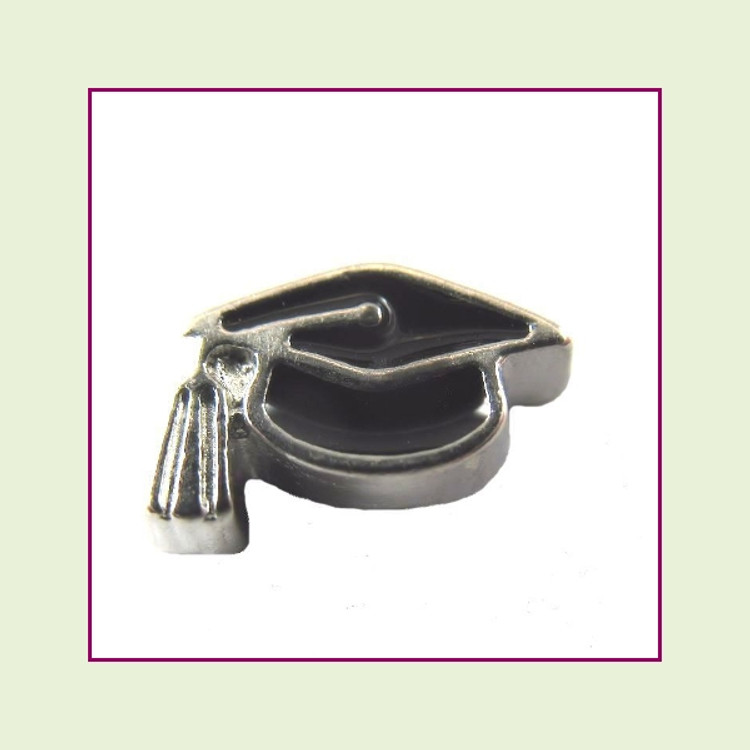 Graduation Cap Black (Silver Base) Floating Charm