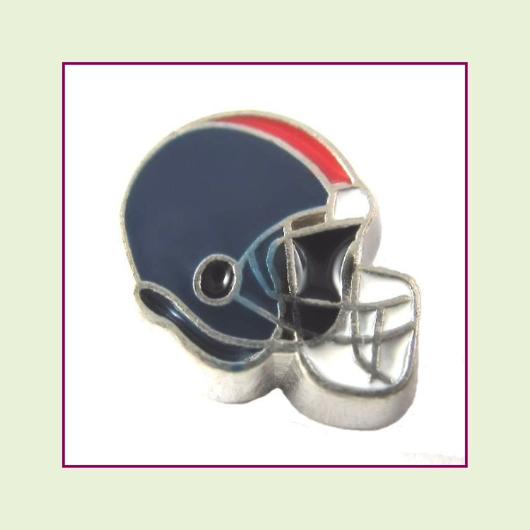 Football Helmet - Navy Blue with Red Stripe (Silver Base) Floating Charm