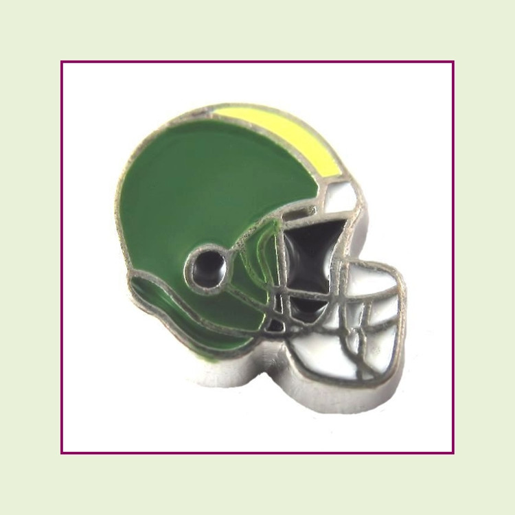 Football Helmet - Green with Yellow Stripe (Silver Base) Floating Charm