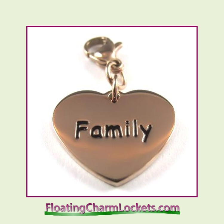 Stainless Steel Clip-On Charm:  Family Heart (Rose) 18x15mm