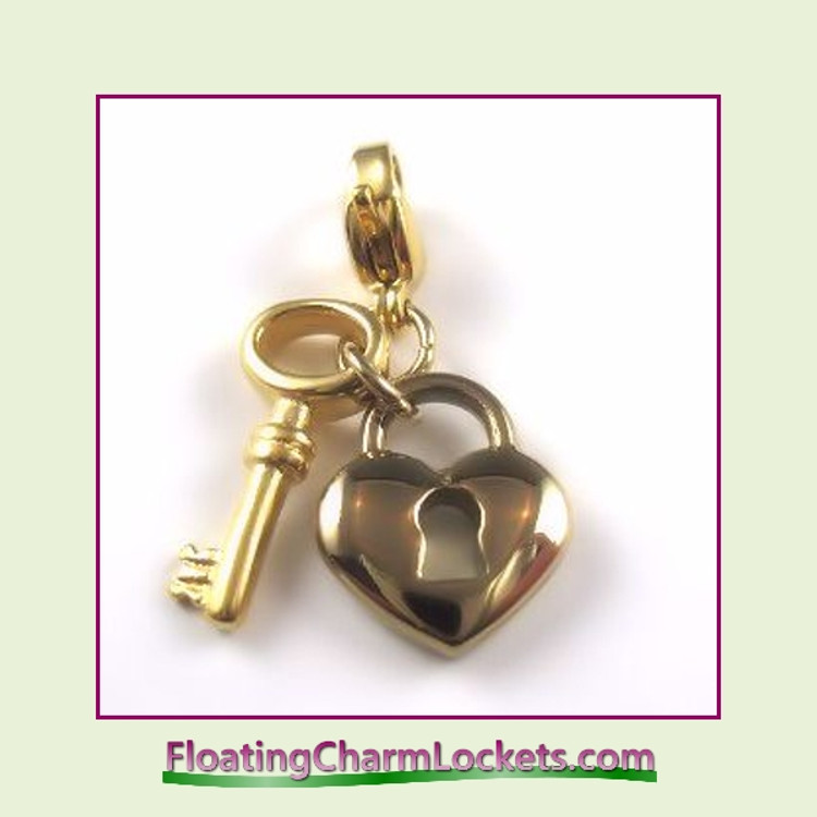Stainless Steel Clip-On Charm:  Heart Lock and Key (Gold)
