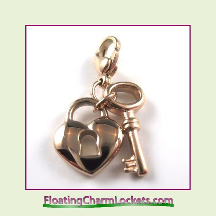 Stainless Steel Clip-On Charm:  Heart Lock and Key (Rose)