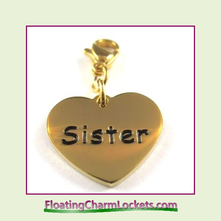 Stainless Steel Clip-On Charm:  Sister Heart (Gold) 18x15mm