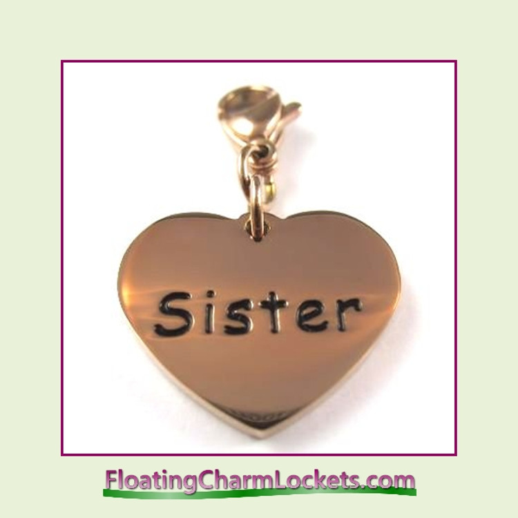 Stainless Steel Clip-On Charm:  Sister Heart (Rose) 18x15mm