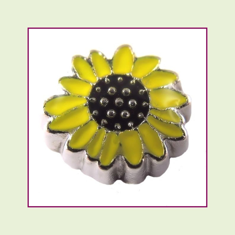 Sunflower (Silver Base) Floating Charm
