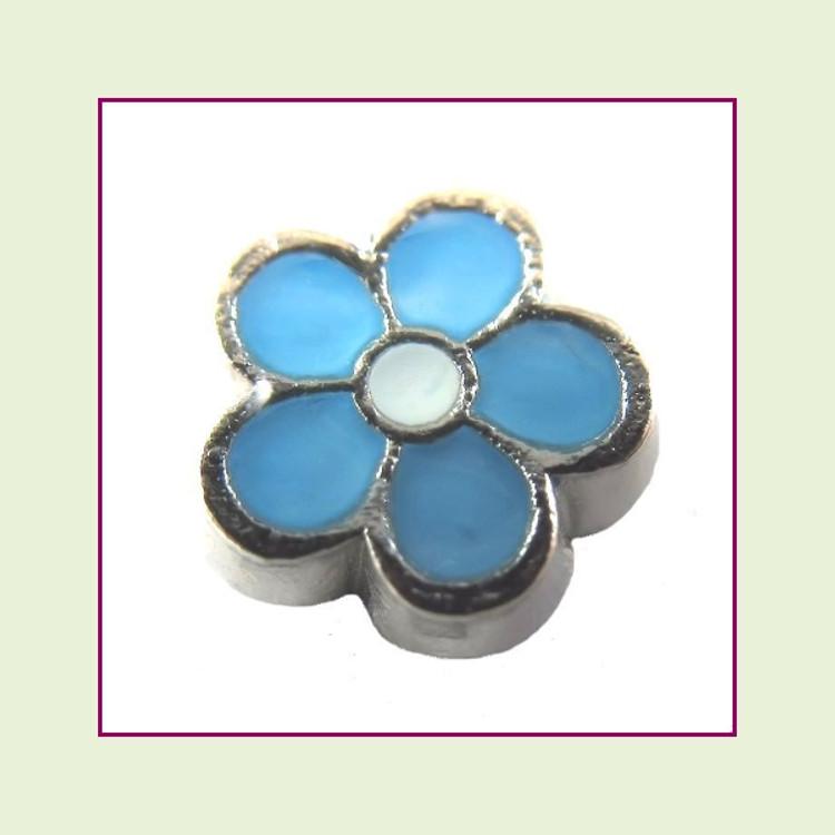 Cute Blue Flower (Silver Base) Floating Charm