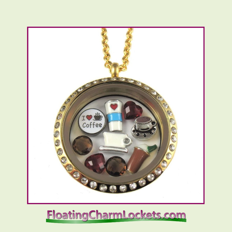 FCL Designs® Coffee Lover Theme Floating Charm Locket