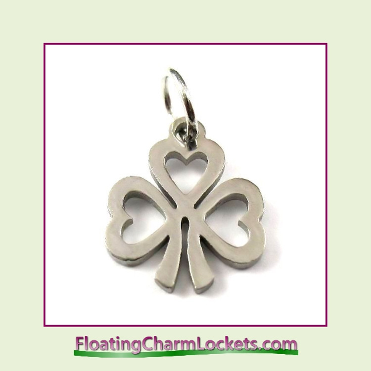 Mini O-Ring Charm:  Shamrock 12x14mm Silver Stainless Steel