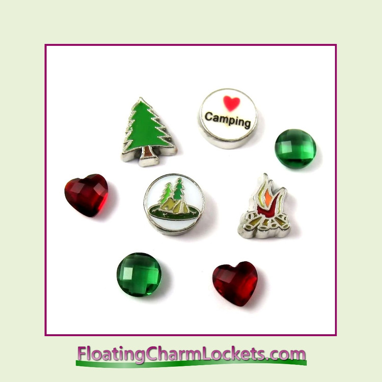 FCL Designs® Love Camping Floating Charm Combination for Lockets