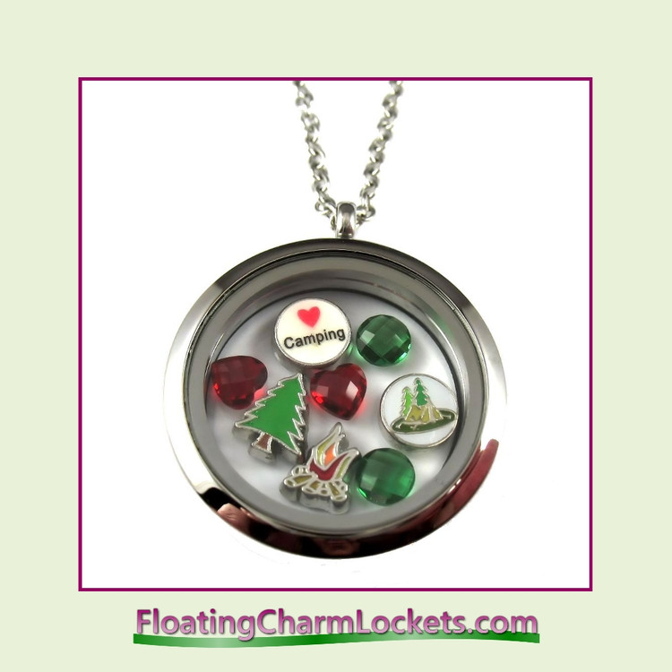 FCL Designs® Love Camping Theme Floating Charm Locket