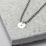 Hand Stamped Sterling Disc on Dog Tag Chain