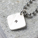 Hand Stamped Square Tag on Dog Tag Chain