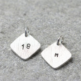 Hand Stamped Square Tag Necklace on Sterling Chain