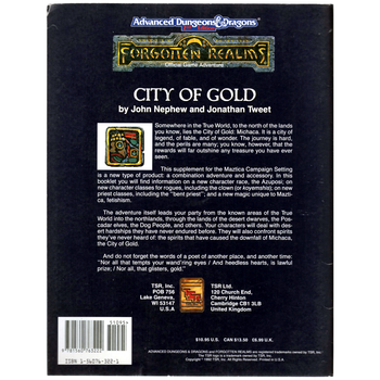 AD&D 2nd Edition Forgotten Realms: City of Gold - Pre-owned, VG Condition