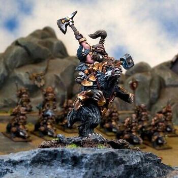 Kings of War Dwarfs Sveri Egilax / Berserker Lord on Brock