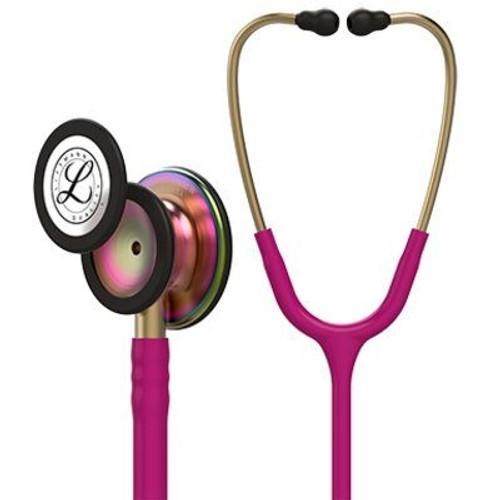 "3M Littmann® Classic III - Monitoring Stethoscope, 5806, rainbow Chestpiece, Raspberry Tube, 27"" (69 cm)"