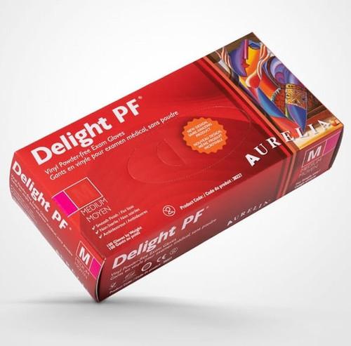 Aurelia Delight Vinyl Powder Free Gloves Medium 100/box