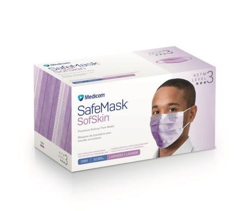 Medicom SafeMask SofSkin Earloop Mask, Level 3, Lavender, 50/box