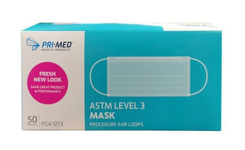 PriMed mask PG4-1273, ASTM level 3 procedure face mask with earloops offers great protection and comfortable fit. ASTM F2100 Level 3 standards. Provides protection from fluids and particles that cause illness and infection. PriMed masks have been very popular masks the hosptial face mask market.