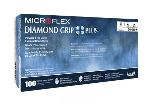Ansell MicroFlex Diamond Grip Plus Latex Powder Free Gloves Extra Small, 100/box