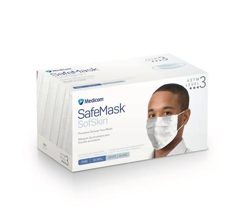 Medicom SafeMask SofSkin Earloop Mask Level 3, White, 50/box
