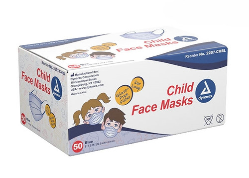 Dynarex Child Earloop Face Mask Blue 50/box