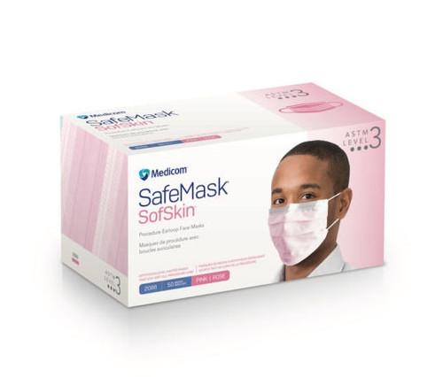 Medicom SafeMask SofSkin Earloop Mask, Level 3, Pink, 50/box